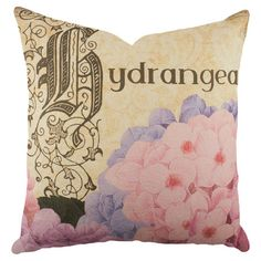 Cotton denim pillow with a hydrangea motif. Handmade in the USA.   Product: PillowConstruction Material: 100% C...