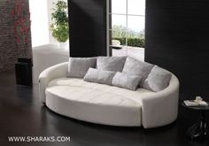 Luxurious White Round Leather Couch Has Similar Colored Cushions Adorable Elegant Design Inspirations Furniture