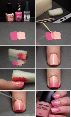 Love these nails! Find out how to make cool ombre (faded sort of) nails with nothing but nail polish and a sponge :) Diy Nails, Cute Nails, Pretty Nails, Gorgeous Nails, Perfect Nails, Manicure Y Pedicure, Mani Pedi, Manicure Ideas, Beauty Nails