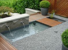 Simply Compact Water Feature for Outdoor Modern water features brochure idea - Backyard Ponds Miami Pond Modern Water Feature, Backyard Water Feature, Ponds Backyard, Garden Pool, Water Garden, Garden Art, Pond Landscaping, Landscaping With Rocks, Modern Landscaping