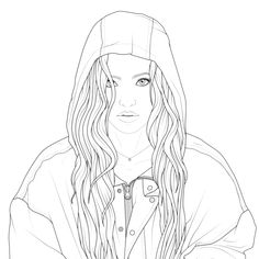 Tumblr Coloring Pages, People Coloring Pages, Coloring Pages To Print, Coloring Book Pages, Love Drawings, Colorful Drawings, Colorful Pictures, Line Art Projects, Barbie Coloring