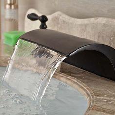 Luxury Oil Rubbed Bronze Waterfall Roman Bathroom Faucet Widespread Mixer Tap//pinterest: selinaa//