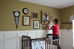 vintage sports nursery   Nursery Inspiration   Sara Solomonson     Not the top color   Bad add boarding to the chair rail we already have  Vintage  Sports NurserySports