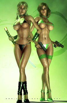 Bikini girls - illustration - sexy - 3DArt