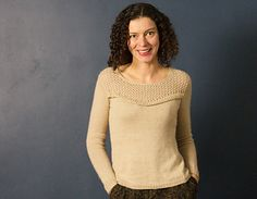 Champagne is a seamless top-down sweater with set-in sleeves knitted in the round.