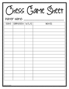 Chess worksheets