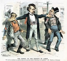 KNIGHTS OF LABOR: CARTOON. American cartoon, 1886, by Joseph Keppler, showing Terence V. Powderly giving the back of his hand to a 'scab' and to an employer