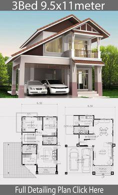 Home Design Plan mit 3 Schlafzimmern - Home Ideas - My Dream Home with layout plan 2 Storey House Design, Duplex House Design, House Front Design, Small House Design, Modern House Design, House Layout Plans, Dream House Plans, House Layouts, House Floor Plans
