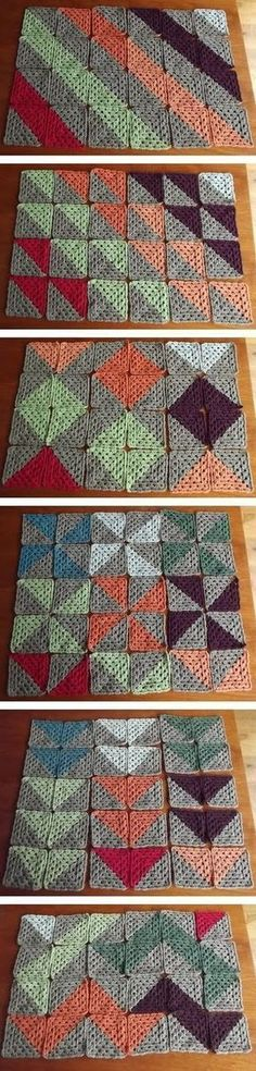 Six different patterns from the same two-color granny squares. Same thing but with half square triangles