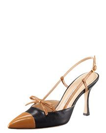 X19FP Manolo Blahnik Bicolor Slingback With Bow And Cap Toe