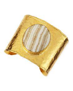 Dina Mackney 18k Gold Vermeil Cuff with Striped Agate Center