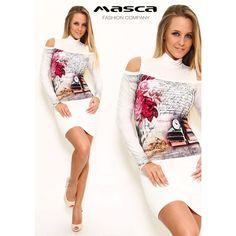 Masca Fashion nyitott vállú, színes mintás fehér miniruha, belevarrott garbós betéttel Bodycon Dress, Mini, Dresses, Fashion, Tunic, Vestidos, Moda, Body Con, Fashion Styles