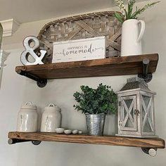 Floating shelves add a rustic but contemporary look to your home or work space. The handcrafted, solid wood shelves and sleek iron pipe supports provide sturdy storage for books, dishes, or bathroom décor in a cozy, farmhouse style. Diy Home Decor For Apartments, Rustic Apartment Decor, Floating Shelf Decor, Rustic Shelves, Wood Shelves, Country Shelves, Industrial Pipe Shelves, Industrial Living, Kitchens
