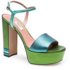 Bally Clarine Platform Sandal ($695) ❤ liked on Polyvore featuring shoes, sandals, green, bally footwear, ankle strap shoes, bally sandals, green sandals and ankle tie shoes