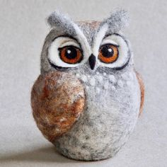 "86 Likes, 3 Comments - The Lady Moth ART (@theladymoth) on Instagram: ""Needle felted Horned Owl #nature #woodland #felting #textileart #fibreart #owl #owls #hornedowl…"""