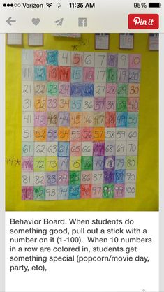 Behavior board using hundreds chart to reward class