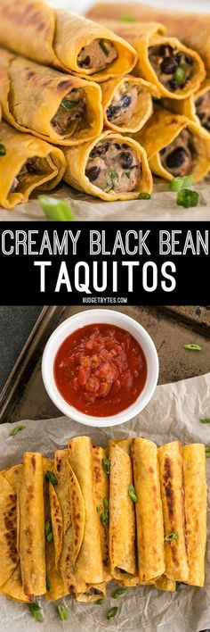 Creamy Black Bean Taquitos are an easy, tasty, and inexpensive appetizer for football parties or just for fun! @budgetbytes