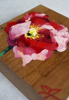 Emily Jeffords — Lady In Red: #poppy #flower oil #painting on wood