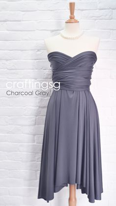 Bridesmaid Dress Infinity Dress Charcoal Grey Knee Length Wrap Convertible Dress Wedding Dress by craftingsg on Etsy