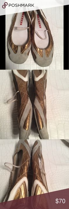 Prada shoes Preloved suede and metallic leather can use a mild cleaning otherwise good condition Prada Shoes Flats & Loafers
