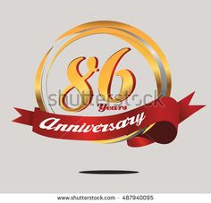 86 years anniversary golden logo with red ribbon and ring composition. anniversary logo for birthday, celebration, wedding, and party
