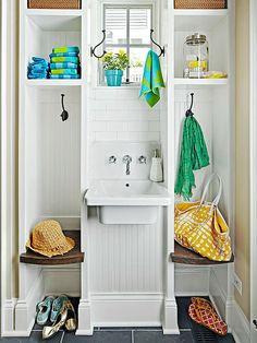 A sink tucked into this back entry makes for convenient washups after a round of outdoor playing or gardening.