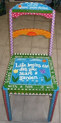 Have an old chair idea….Garden Chair Have an old chair idea…. Hand Painted Chairs, Whimsical Painted Furniture, Hand Painted Furniture, Funky Furniture, Painted Rocking Chairs, Furniture Stores, Furniture Ideas, Garden Chairs, Diy Chair