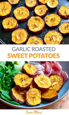 Simple, delicious and healthy, these roasted garlic sweet potatoes are my absolute favourite side dish. There are many ways to roast sweet potatoes and I would love for you to try this method because they are SO SO tasty! This sweet potato recipe is paleo, Whole30, gluten-free, vegetarian, vegan. Cooking Sweet Potatoes, Roasted Sweet Potatoes, Roasted Garlic, Sweet Potato Skins, How To Grill Steak, Whole30 Recipes, Sweet Potato Recipes, Delicious Dinner Recipes, Dinner Dishes