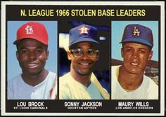 1967 Topps NL Stolen Base Leaders: Lou Brock, St. Louis Cardinals, Sonny Jackson, Houston Astros, Maury Wills, Los Angeles Dodgers, Baseball Cards That Never Were