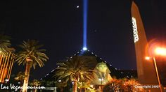 Most powerful light beam in the world (and one of three man-made objects visible from space): The Luxor 's beam comprises dozens of lamps called Xenon lamps, which cost $1,200 each and will last up to 2,000 hours. Each lamp is 7,000 watts. Total, they are 315,000 watts