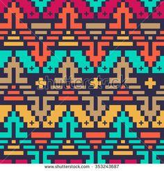 Vector Seamless Tribal Chevron Pattern for Textile Design.
