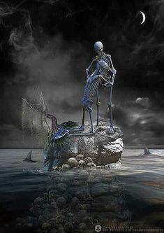 Artist: Dan Verkys What I'd give, my love Skeleton Love, Skeleton Art, Dark Artwork, Skull Artwork, Beautiful Fantasy Art, Dark Fantasy Art, Creepy, Art Of Dan, Badass Skulls