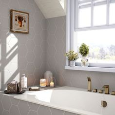 Hexagon Grey 17.5x20cm - from Tile Mountain One Color, Gray Color, Wall Boxes, Hexagon Tiles, Underfloor Heating, Wall And Floor Tiles, Bespoke Design, Grey Walls, Interior Styling