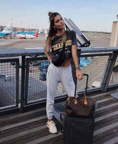 Daily Dress Me – comfy travel outfit summer Cute Travel Outfits, Comfy Travel Outfit, Travel Clothes Women, Lazy Outfits, Sporty Outfits, Mode Outfits, Summer Outfits, Fashion Outfits, Fashion 2018
