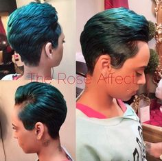 Ocean Blue With Forest Green Undertones - Black Hair Information Community/Dorothy Johnson Short Sassy Hair, Short Hair Cuts, Short Hair Styles, Pixie Styles, Pixie Cuts, Short Pixie, Black Girls Hairstyles, Straight Hairstyles, Long Hairstyles