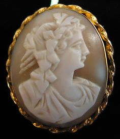 Pretty!  Hand carved vintage cameo in gold filled frame.  #TheCornerShoppe