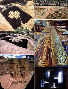 Carved from a solid rock the Churches of Lalibela (Ethiopia) are richley decorated with swastika like crosses,the star of david and scenes from the old testament, Jesus representing the sun.