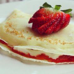 Valentine's Day Strawberry Cheesecake Crepes