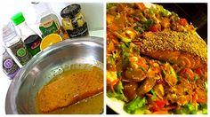 Salmão na crosta de castanha de caju - tempere o salmão com mix de pimentas e mix de ervas e deixe marinando na geladeira em 1 col de mostarda djon, 2 col de agave, 2 col de shoyu light, suco de 1/2 laranja. Antes de ir ao forno, passe na castanha de caju. Sirva a salada com molho de mostarda, balsâmico e mel.