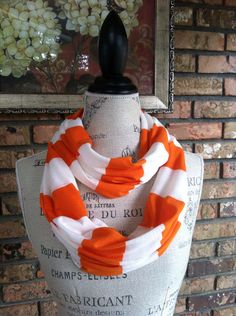 Orange and White Striped Infinity Scarf, University of Tennessee, Syracuse on Etsy, $17.00