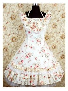 Beige Cotton Square-collar Halter Straps sweet Lolita dress With floral print Style