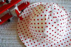 Summer hat for girls. white with red dots by MadeByAdam on Etsy