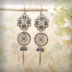 Cathedral - OOAK Renaissance Dangle Earrings, Filigree Old World Cross, Filigree Flower, Dagger, in Natural Solid Cast Bronze by MiaMontgomery at Etsy