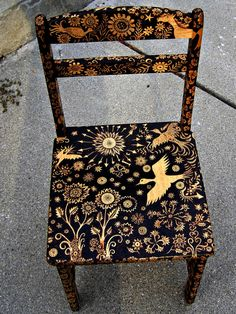 Love this wood burned chair