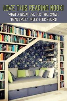 Creative Storage Solutions for Small Spaces (Awesome DIY Ideas!) - Love This Reading Nook! / what a great use for that small 'dead space' under your stairs! Small Laundry Rooms, Small Rooms, Creative Storage, Diy Storage, Tiny Spaces, Moving House, Furniture For Small Spaces, Diy Home Improvement, Reading Nook