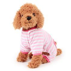 1pc Soft Striped Design Blue Pink Spring And Summer Pet Dog Loose Four-legged Casual Pajamas Pet Clothes Dog Dress Decor P10 #Affiliate