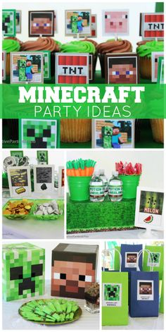 This cool Minecraft boy birthday party has a great cake, decorations and food ideas! See more party ideas at CatchMyParty.com!