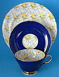 Shelley Teacup Trio Primrose Chintz Henley Cobalt Blue (Image1)