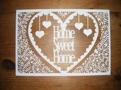 Papercut DIY Design Template - 'Home Sweet Home' Heart - Instant Download <3