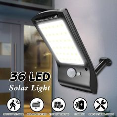 Solar Wall Lights, 36 LED Solar Powered Motion Sensor Waterproof Security Wall Lamp Outdoor Sconces Black For Patio Deck Yard Garden Driveway Outdoor Solar Lamps, Outdoor Sconces, Outdoor Wall Lighting, Wall Sconce Lighting, Lighting Ideas, Wall Sconces, Solar Wall Lights, Solar Powered Lights, Recycling